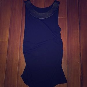 Black Tank Top with Leather Collar